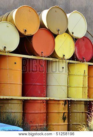 Autumn Colored Urban Water Barrels