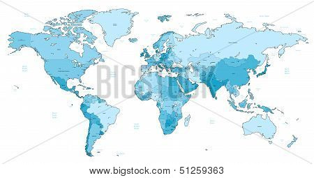 Light Blue Detailed World Map