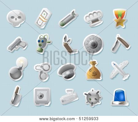 Sticker Icons For Military And Crime