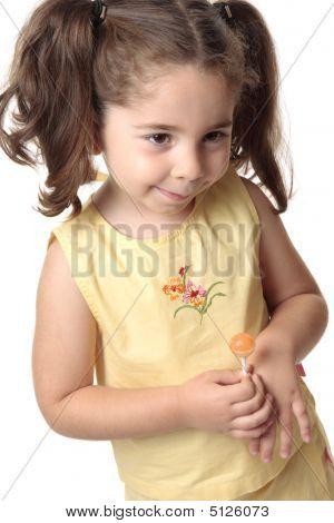 Shy Toddler Girl Smiling