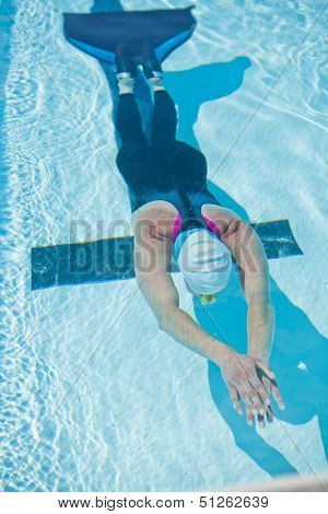 Female Freediver In Pool