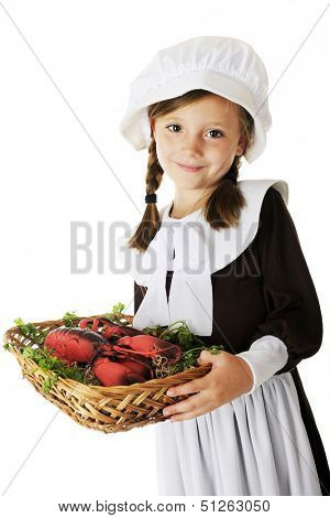 An adorable young Pilgrim girl carrying a basket of lobster (a likely offering at the first Thanksgiving).  On a white background.