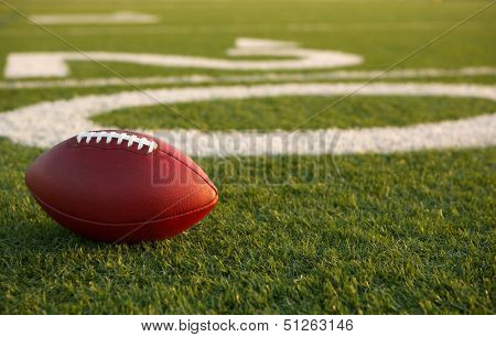 American Football near the Twenty Yard Line with room for copy