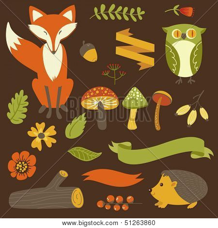 Autumn forest, woodland animals, flowers and ribbons