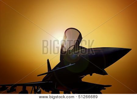 Fighter Plane On The Ground At Sunset