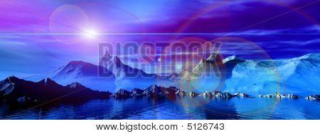 Panoramic Scene. 3D Landscape. Glow