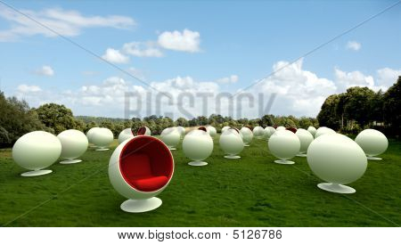 Cocoon Chairs In A Meadow