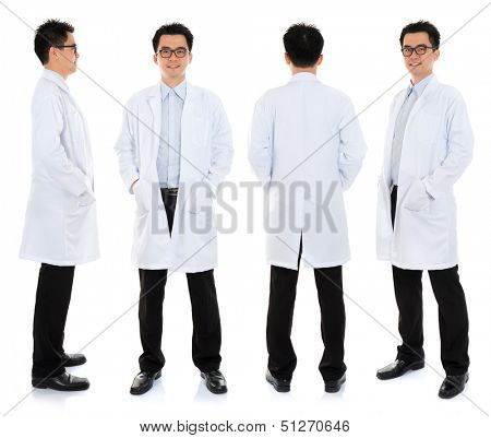 Full body Asian male beauty therapist in beautician uniform with confident smile, standing in different angle, front, back and side, isolated on white background.