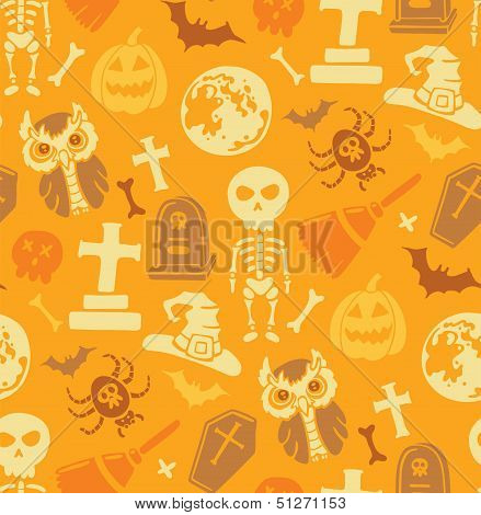 Seamless pattern with halloween objects.