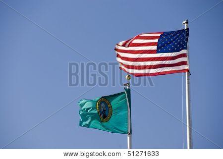 American and Washington State flags, USA