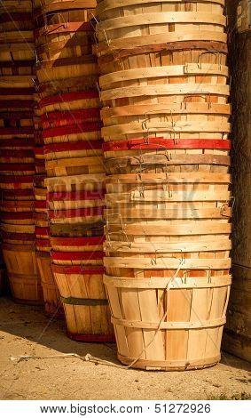 Vertical stacks of farm baskets