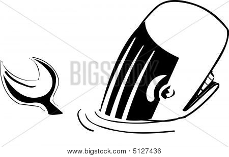 Whale Submerged Black And White Cartoon
