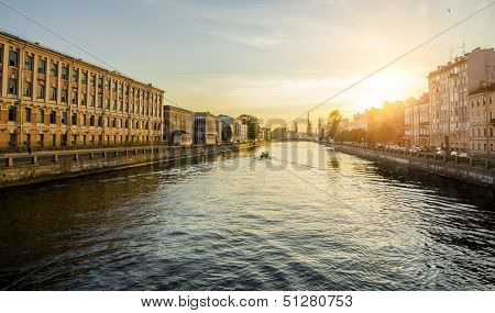 The Houses On The Fontanka River In St. Petersburg At Sunset