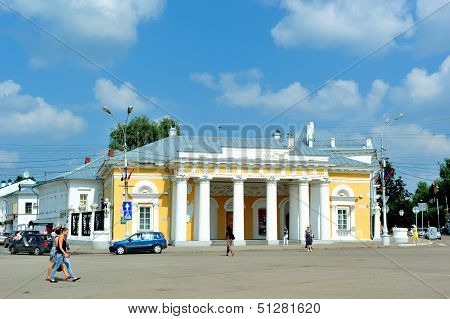 Golden Ring of Russia. Military guardhouse (19 cent.) in Kostroma in the central (Susanin) square