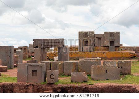 Megalithic stone complex Puma Punku, Bolivia