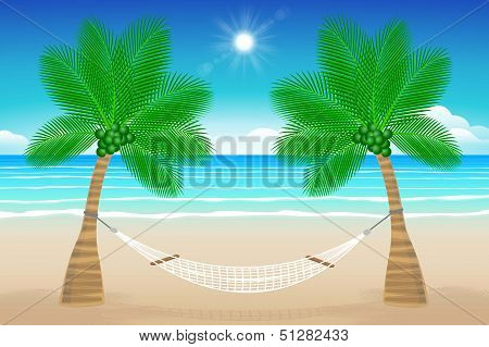 Beach With A Hammock
