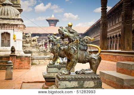 Lion statues of Taleju Chowk on DurbarSquare in Bhaktapur, Kathmandu Valley, Nepal.