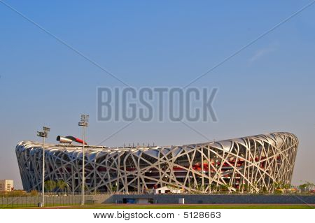 Side View Of The Birds Nest (national Stadium Beijing)