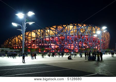Night Scene Of National Stadium Beijing From Square