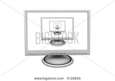 Lcd Flat Screen Monitor - Multiple Recursive Pip