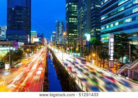 Bangkok skyline and traffic jam