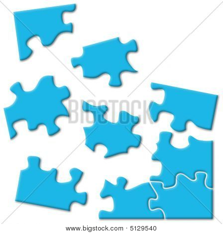 Blue Puzzle Pieces Over White