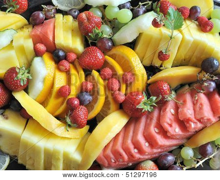 many fruits on plate