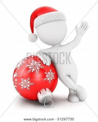 3d white people with a christmas bauble