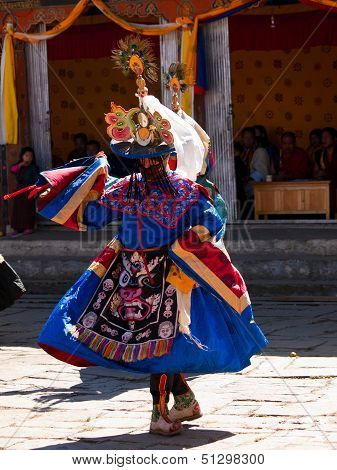 Bhutan - October 2010: Masked Man Are Dancing On A Tsechus (bhutanese Fesival) In Bumthang