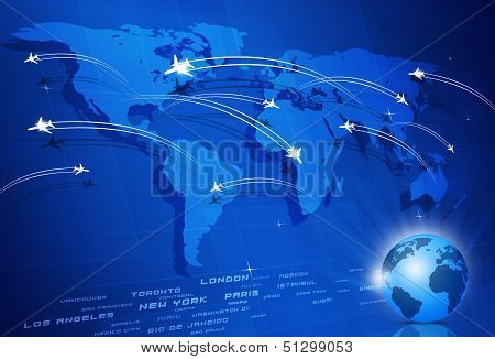 Global Aviation Concept Blue Background
