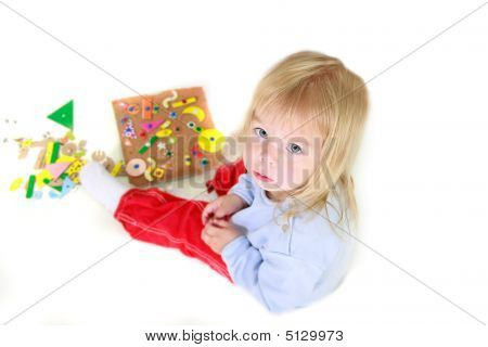 Playing Toddler Girl Over White