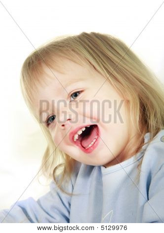 Smiling Toddler Girl Over White Portrait