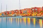 stock photo of marina  - Beautiful architecture of Hurghada Marina at dusk in Egypt - JPG
