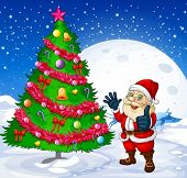 picture of beside  - Illustration of a smiling santa beside the giant christmas tree - JPG