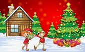 stock photo of christmas theme  - Illustration of the two playful dwarves near the christmas trees - JPG