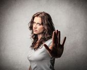 stock photo of disgusting  - pretty angry woman - JPG