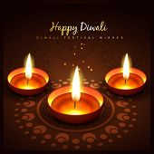 stock photo of diwali lamp  - diwali festival vector design background - JPG