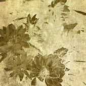 art grunge floral vintage watercolor sepia background with peonies