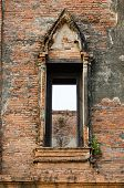 Ruin Opening Windows At Maheyong Ancient Temple, Ayutthaya, Thailand