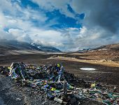 Buddhist prayer flags (lungta) on Baralacha La pass on Manali-Leh highway in Himalayas. Himachal Pra