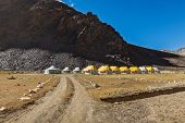 stock photo of manali-leh road  - Tent camp in Himalayas along Manali - JPG