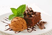 image of ice-cake  - dark chocolate cake with scoop of ice cream - JPG