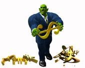 stock photo of gremlins  - 3d render of business suited gremlin destroying the worlds currencies - JPG