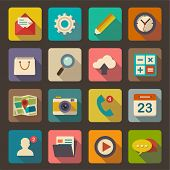 stock photo of clocks  - Flat icons set for Web and Mobile Applications - JPG