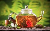 stock photo of teapot  - Teapot with blooming tea on blur green background - JPG