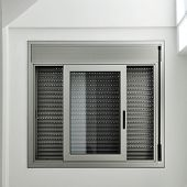 view of an aluminum sliding window with a roller shutter
