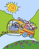 image of bus driver  - Cartoon of people riding a bus on a beautiful day - JPG