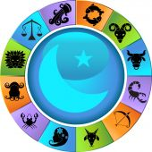 stock photo of zodiac sign  - Horoscope symbols on a moon chart wheel - JPG