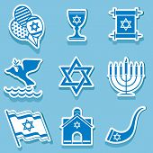 pic of torah  - set vector icons of israel sign and symbol - JPG