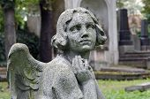 picture of tombstone  - Weathered statue of a praying Angel  - JPG